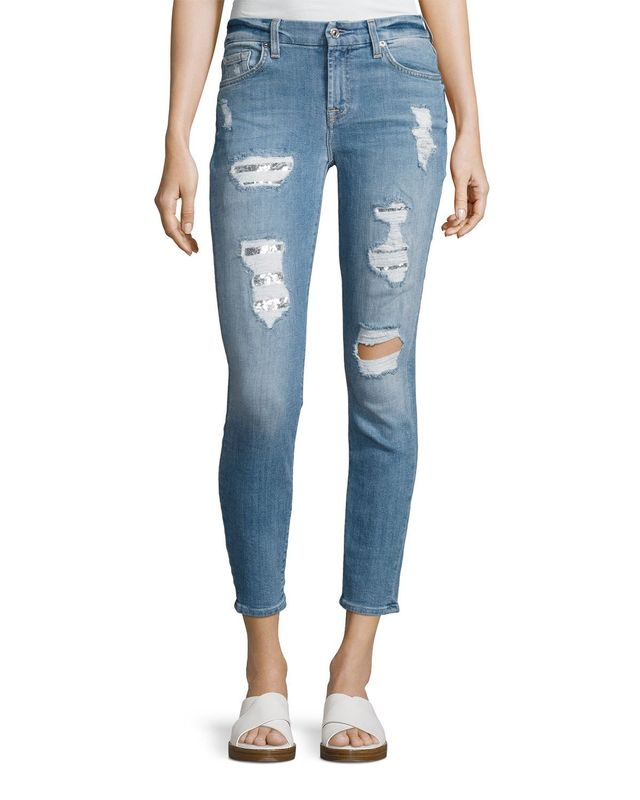 7 for All Mankind Destroyed Sequin Skinny Ankle Jeans, #OnlyatNM