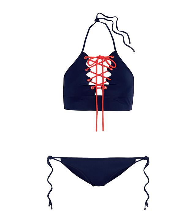 Lace-Up Halterneck Bikini