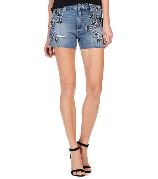 paige denim embroidered shorts