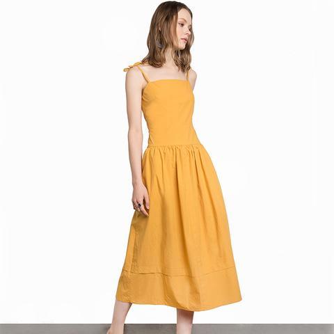 Mustard Yellow Shoulder Tie Midi Dress