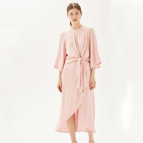 Jacquard Knot Front Midi Dress