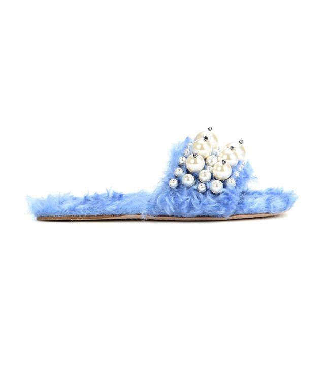 celebrity sandals - Miu Miu Embellished Faux Fur Slippers