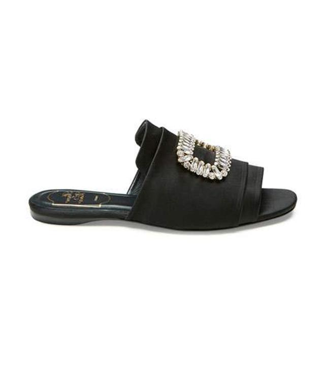 celebrity sandals - Roger Vivier Strass-Buckle Satin Slide Sandal