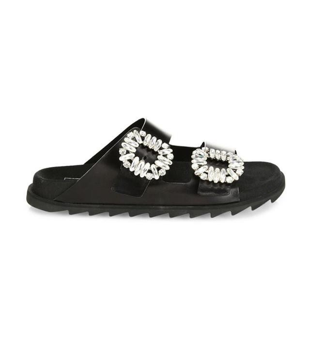 celebrity sandals - Roger Vivier Viv Crystal-Buckle Leather Slides