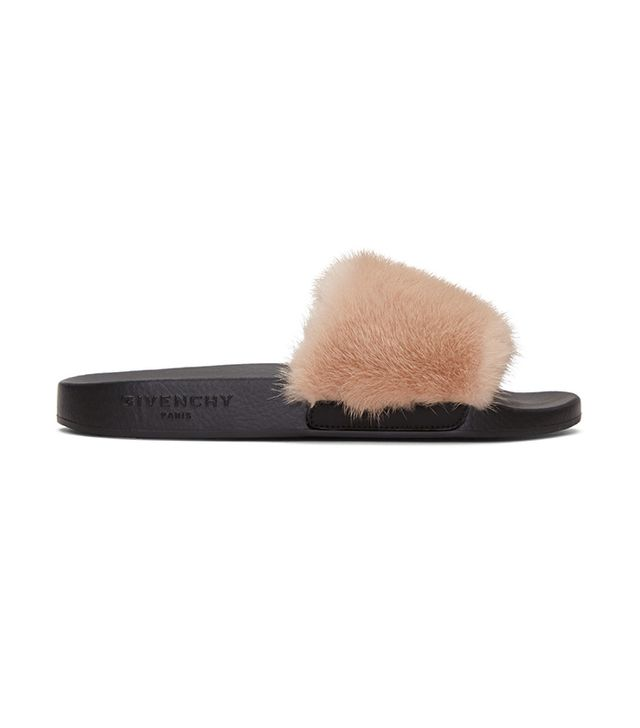 celebrity sandals - Givenchy Beige Mink Beach Slide Sandals