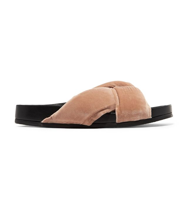 celebrity sandals - Chloé Knotted Velvet Slides