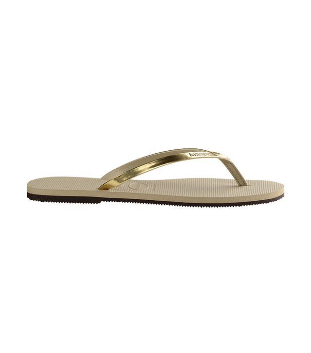 celebrity sandals - Havianas You Metallic Sand Grey/Light Golden Sandals