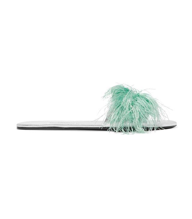 celebrity sandals - Prada Feather Slides