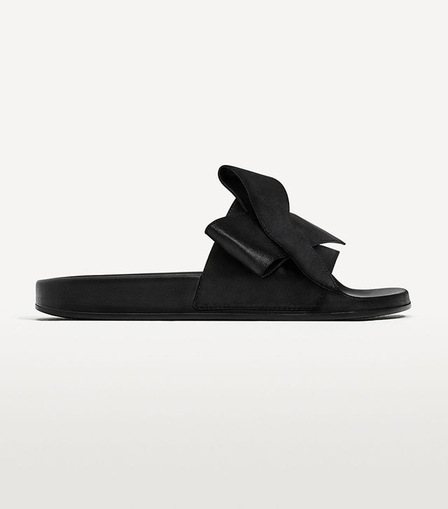 celebrity sandals - Zara Satin Bow Slides