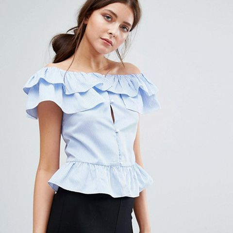 Ruffle Bardot Stripe Top