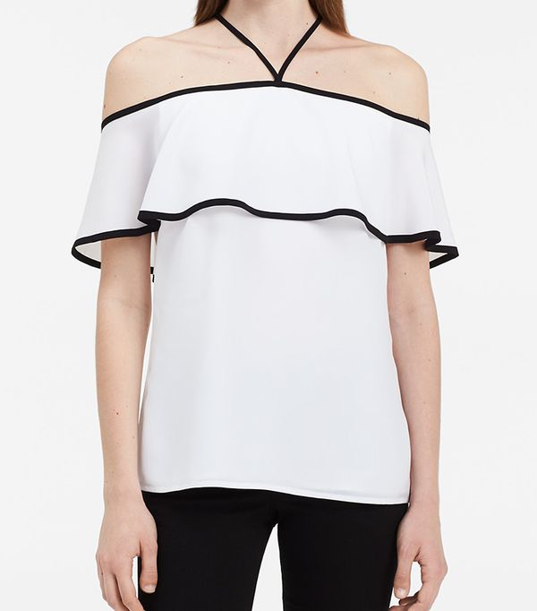 spring tops - Calvin Klein Off-the-Shoulder Ruffle Top