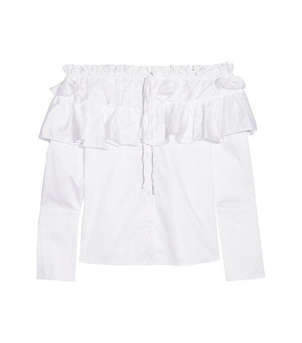 top styles - Opening Ceremony Sateen Off-The-Shoulder Ruffle Top