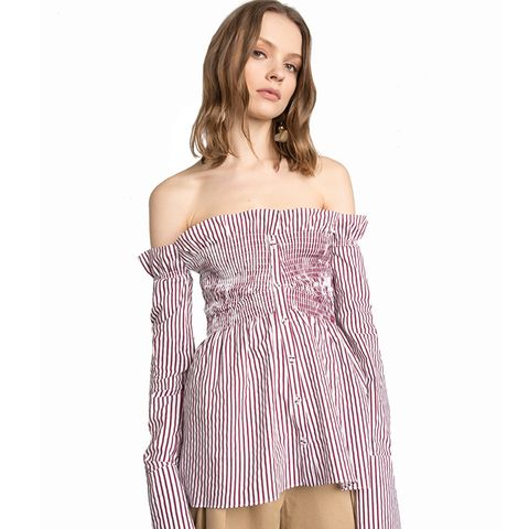 Off the Shoulder Smocked Shirt