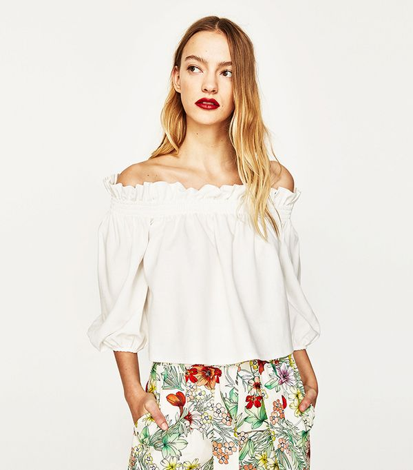 top styles - Zara Off-the-Shoulder Top