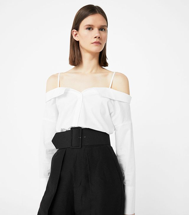 Mango Off-Shoulder Cotton Blouse