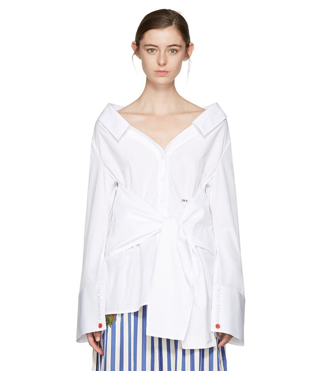 Off-White Long-Sleeve Off-the-Shoulder Shirt