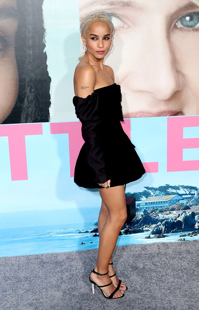 On Zoë Kravitz: Vera Wang dress; Sophia Webster Rosalind Crystal-Heel Satin Sandals (£395).