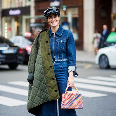 double denim: Gala Gonzalez wears a cropped denim jacket and culotte jeans