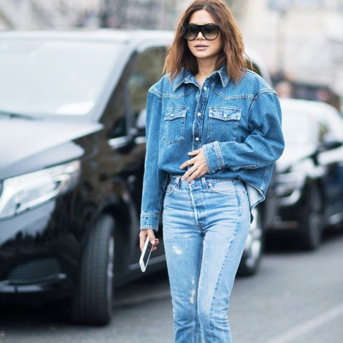 double denim: an oversized denim shirt with skinny jeans and blue court shoes