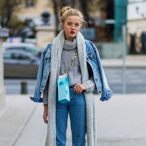 double denim: try a chunky knit and matching scarf