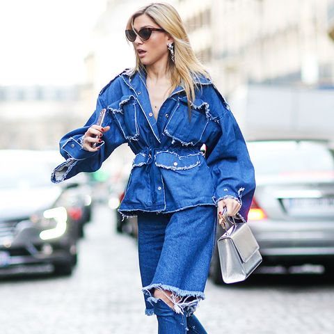double denim: ripped or wide-leg denim can be just as chic as straight leg