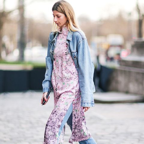 double denim: pair with a dress and denim shoes