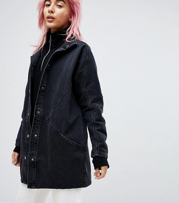 double denim: ASOS Denim Batwing Jacket in Washed Black