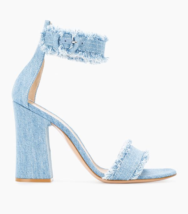 double denim: Gianvito Rossi Frayed Denim Kiki 105 Sandals