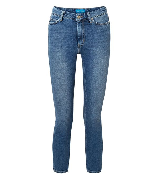 double denim: M.i.h Jeans Niki Cropped High-Rise Skinny Jeans