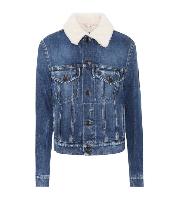 double denim: Saint Laurent Shearling-Lined Denim Jacket