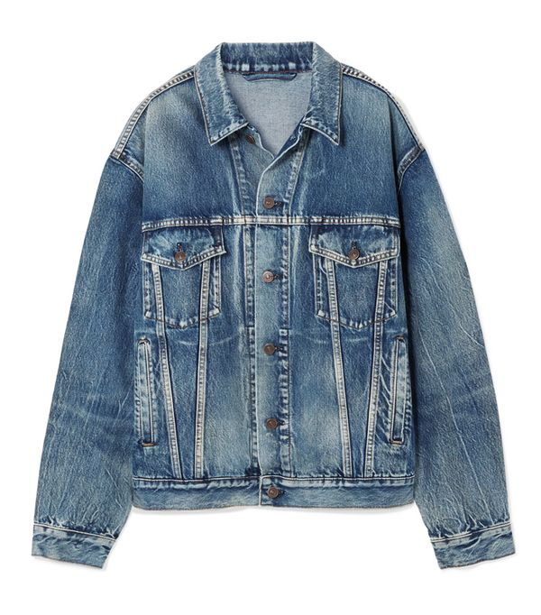 double denim: Balenciaga Like A Man Oversized Printed Denim Jacket