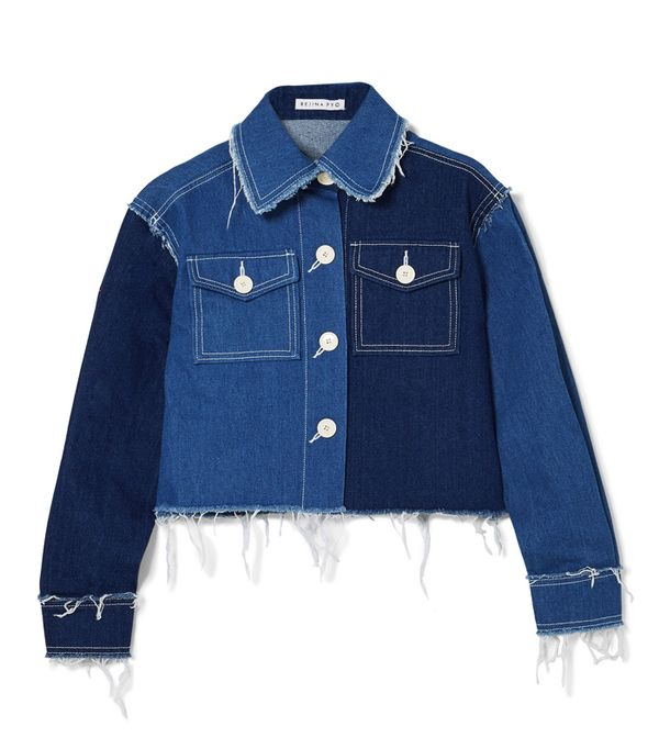 double denim: Rejina Pyo Tessa Frayed Denim Jacket