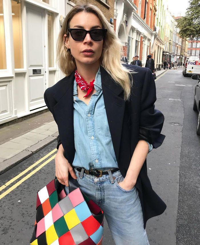 Double denim: wear a mismatched shirt and jeans with a black blazer