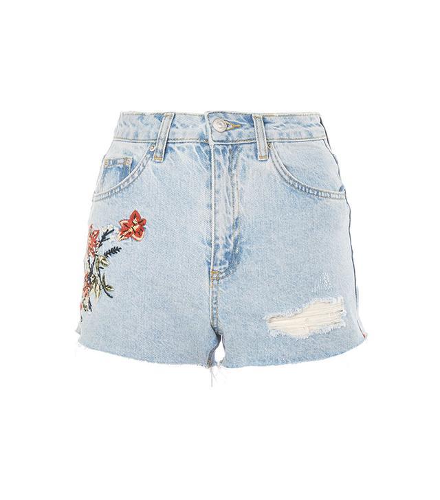 topshop embroidered denim shorts