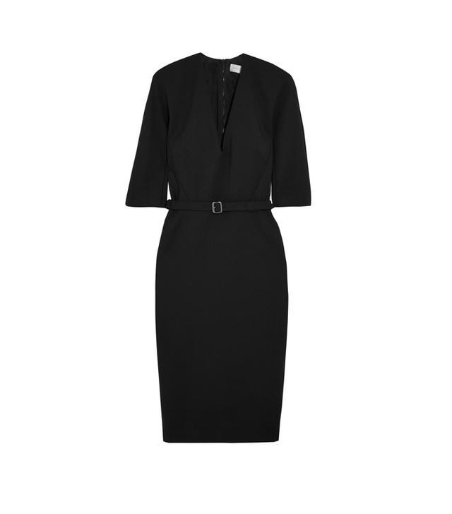 Victoria Beckham Belted Stretch Cotton-Blend Crepe Dress