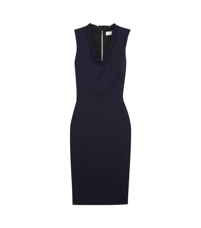 Victoria Beckham Ruffled Pinstripe Stretch-Poplin Dress