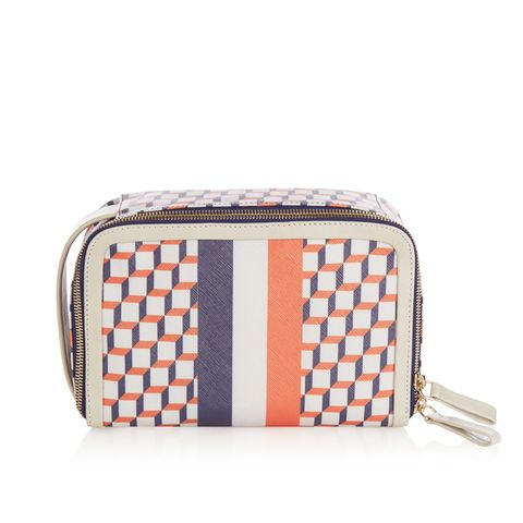 Cube Print Coated Canvas Cosmetics Case