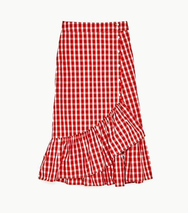 Zara gingham frill skirt