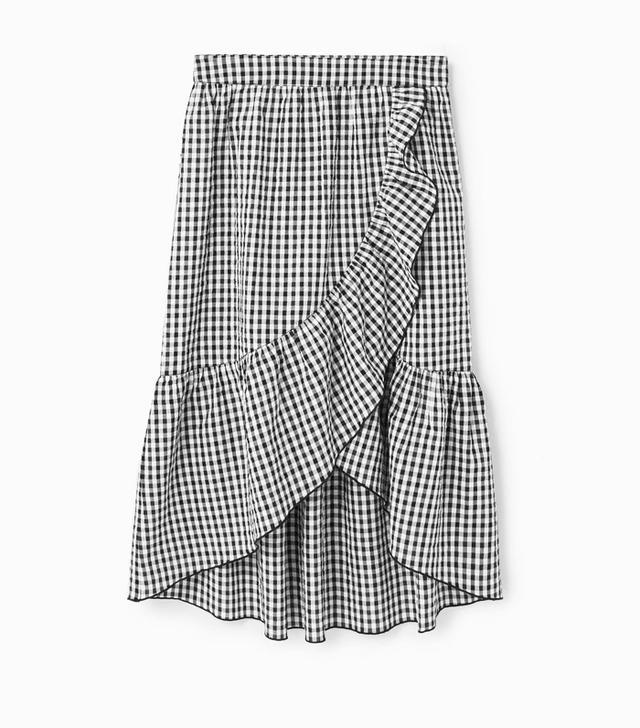 Mango gingham frill skirt