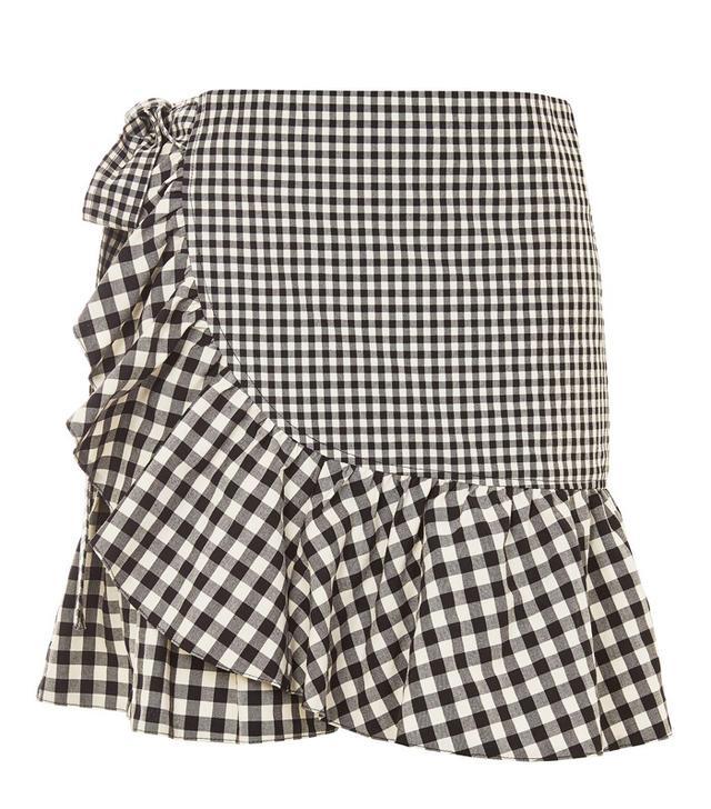 Topshop gingham frill skirt