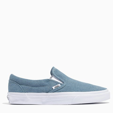 Classic Slip-On Sneakers in Washed Denim