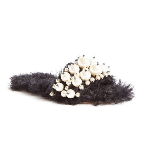 Embellished Faux Fur Slippers in Black