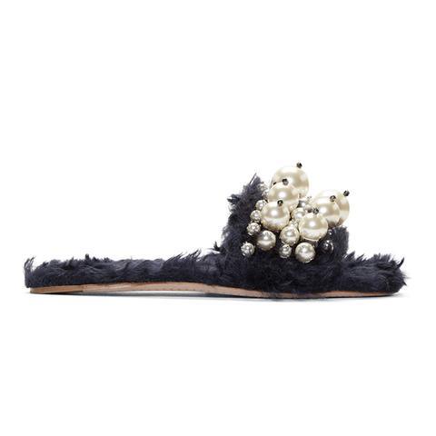 Navy Eco Fur Pearl Slide Sandals