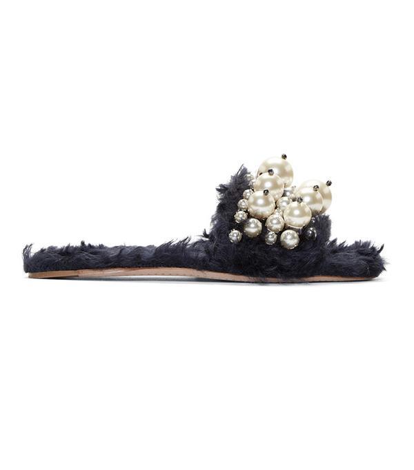 2017 it shoes- Miu Miu Pearly Slide Sandal in navy