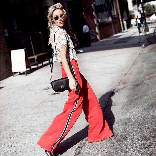 athleisure outfit ideas - red track pants