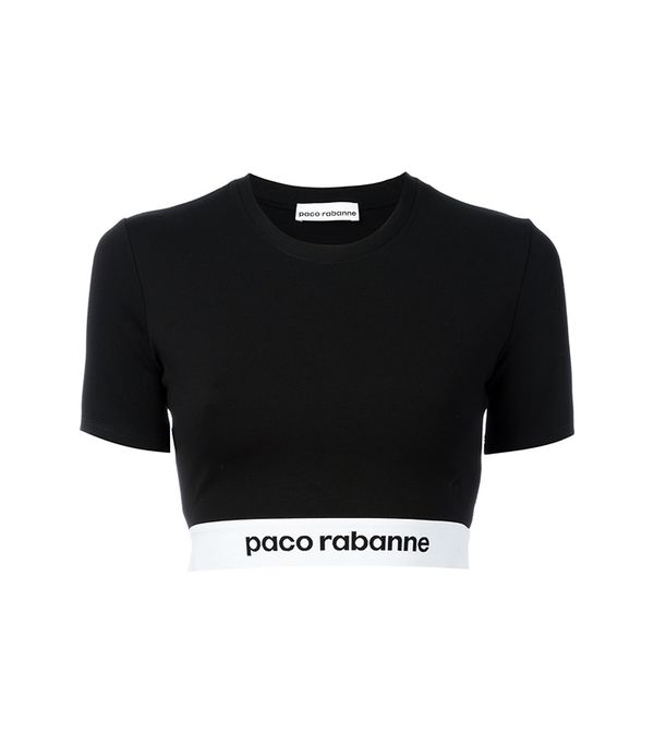 Paco Rabanne Glitter-Effect Ribbed Cropped Top