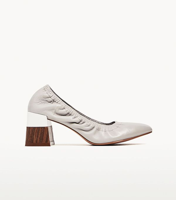Zara Medium Heel Gathered Leather Shoes