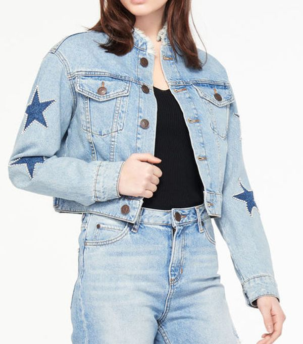 Sandro Short Star Denim Jacket