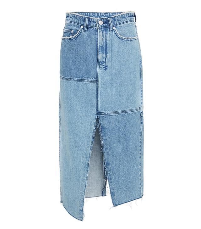 best denim midi skirt- Ksubi Pip Patchwork Skirt