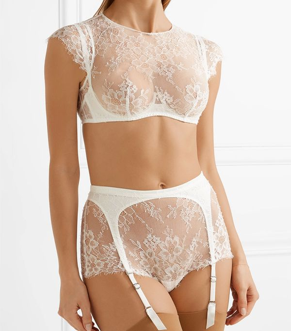 Agent Provocateur Ismerelda Leavers Lace and Silk Underwired Bra